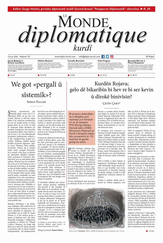 Hejmara Tîrmeh-2020î ya Le Monde diplomatique kurdî  derket !!!